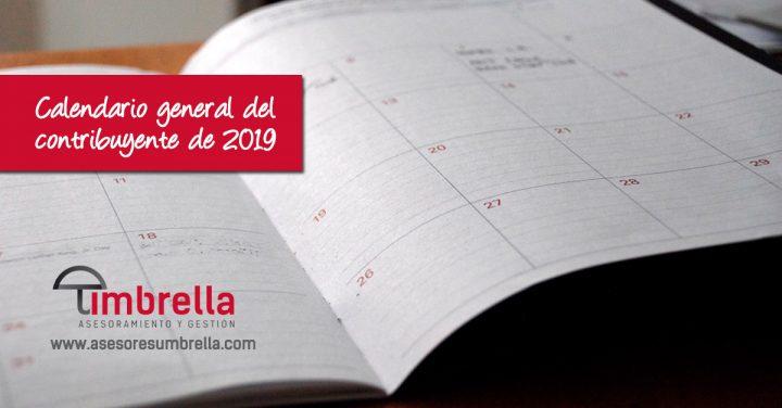 Calendario general del contribuyente de 2019 de septiembre a diciembre.